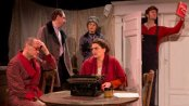 """Edward Prostak, Brian J. Carter, Erin Biernard, Jessica Levesque (seated) and Joshua R. Pyne in a scene from John Hodge's """"Collaborators"""" (Photo credit: Michael Abrams)"""