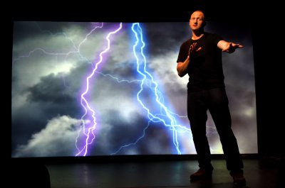 "Baba Brinkman in a scene from ""Rap Guide to Climate Chaos"" (Photo credit: Olivia Sebesky)"