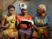 """Pascale Armand, Lupita Nyong'o and Saycon Sengbloh in a scene from """"Ecilpsed""""(Photo credit: Joan Marcus)"""