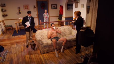 "Brian Miskell, Casey Nadzam, Kevin Argus and Jody Christopherson in a scene from ""Primary"" (Photo credit: PJ Norton)"