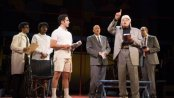 "Santino Fontana, Clark Johnson, James Earl Jones and Jeff Blumenkrantz in a scene from ""Kurt Vonnegut's God Bless You, Mr. Rosewater"" (Photo credit: Joan Marcus)"