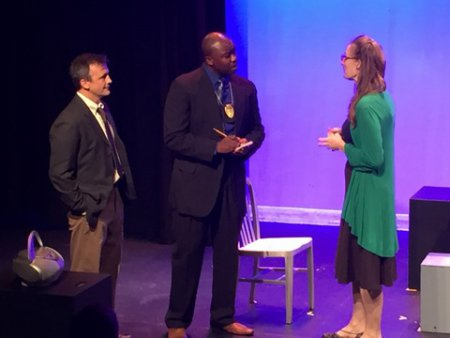 """John Isgro, Jamil A. C. Mangan and Elizabeth Alice Murray in a scene from """"To Protect the Poets"""""""