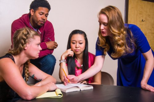 """Joy Donze, Dehawn Wyatte, Ariel Kim and Elizabeth Alice Murray in a scene from """"To Protect the Poets"""" (Photo credit: Peter James Zielinski)"""