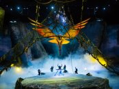 "The flight of the Toruk in a scene from Cirque Du Soleil's ""Toruk- The First Flight"" (Photo credit: Errisson Lawrence, costumes: Kym Barrett; puppet designer: Patrick Martel)"