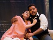 "Bonnie Frauenthal and Jose Heredia in a scene from Dell'Arte Opera Ensemble's production of ""La Traviata"" (Photo credit: Mark Brown)"