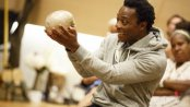 "Chukwudi Iwuji in the title role of Mobile Unit's ""Hamlet"" now at the Public Theater (Photo credit: Joan Marcus)"