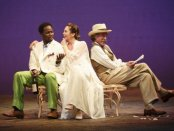 """Harold Perrineau, John Glover and Diane Lane in a scene from """"The Cherry Orchard"""" (Photo credit: Joan Marcus)"""