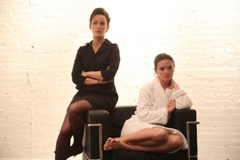 """Danielle Shimshoni and Katarina Vizina in a scene from """"Old Times"""" (Photo credit: Gerry Goodstein)"""