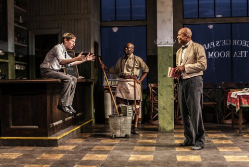 "Noah Robbins, Sahr Ngaujah and Leon Addison Brown, in a scene from ""Master Harold … and the boys"" (Photo credit: Monique Carboni)"