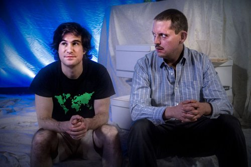 "Matt Steiner and E. James Ford in a scene from ""Private Manning Goes to Washington"" (Photo credit: Jan Wandrag)"