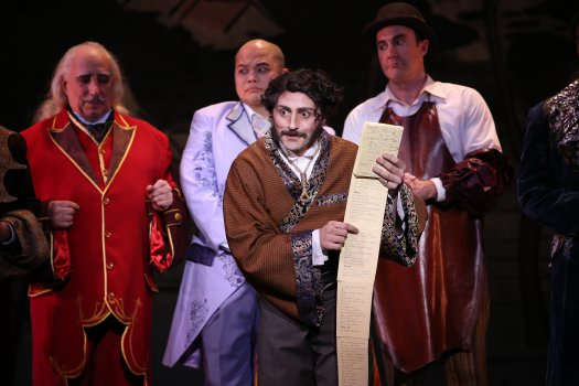 "David Macaluso as Ko-Ko with his little list in a scene from New York Gilbert & Sullivan Players' new production of ""The Mikado"" (Photo credit: Carol Rosegg)"