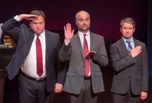 "Michael McCoy, Will Erat and Peter Benson in a scene from ""Mark Felt, Superstar"" (Photo credit: Ben Strothmann)"