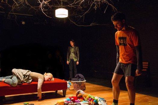 "Suzy Jane Hunt, Liz Wisan and Ben Mehl in a scene from ""DANNYKRISDONNAVERONICA"" (Photo credit: Steve Fallon)"