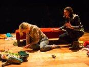 "Suzy Jane Hunt and Liz Wisan in a scene from ""DANNYKRISDONNAVERONICA"" (Photo credit: Steve Fallon)"