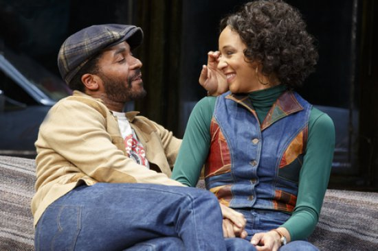 "André Holland and Carra Patterson in a scene from August Wilson's ""Jitney"" (Photo credit: Joan Marcus)"