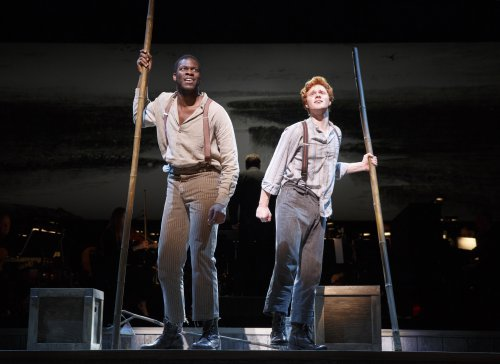 "Kyle Scatliffe and Nicolas Barasch in a scene from ""Big River: The Adventures of Huckleberry Finn"" (Photo credit: Joan Marcus)"