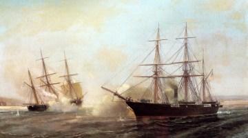 Combat entre le USS Kearsarge et le CSS Alabama en 1864 par Durand-Brager