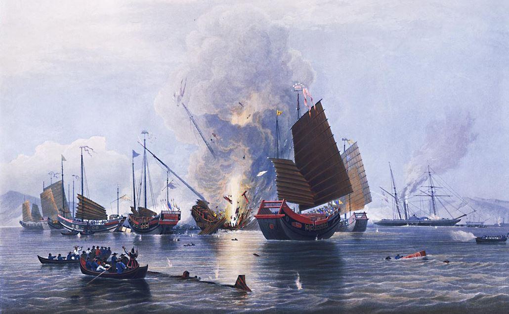 La Nemesis détruit les jonques de guerre chinoises dans le delta de la rivière des Perles le 7 janvier 1841.