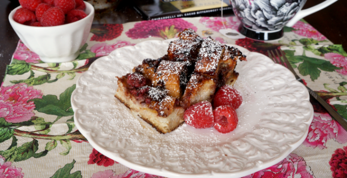 raspberry dark chocolate french toast bake