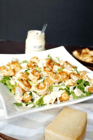 garlic shrimp caesar salad | The Baking Fairy