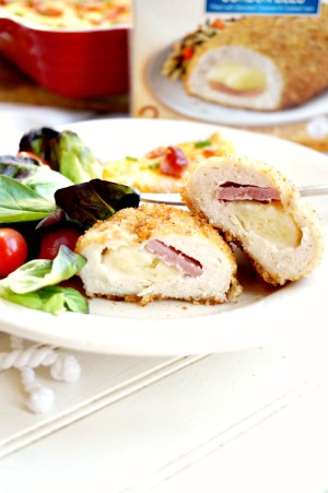 loaded mashed cauliflower casserole with Barber Foods stuffed chicken | The Baking Fairy