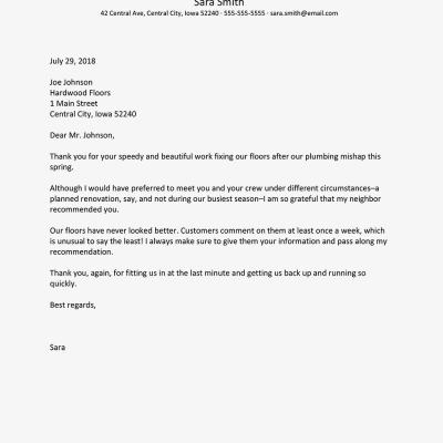 Business Thank You Letter Examples