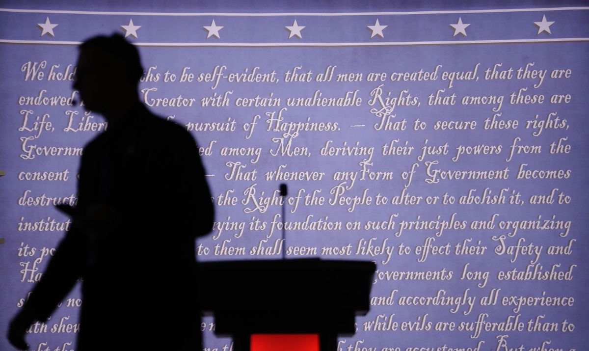 Hillary Complained About Graffiti on Backdrop of Debate Stage