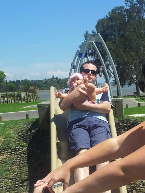 Amelia and Tim on the slide