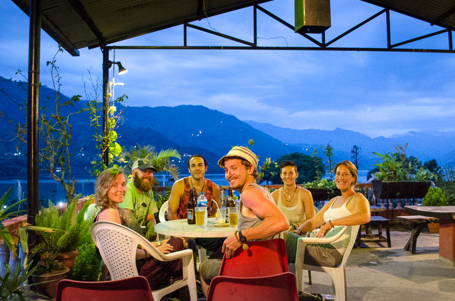 Eating dinner overlooking the lake in Pokhara, Nepal