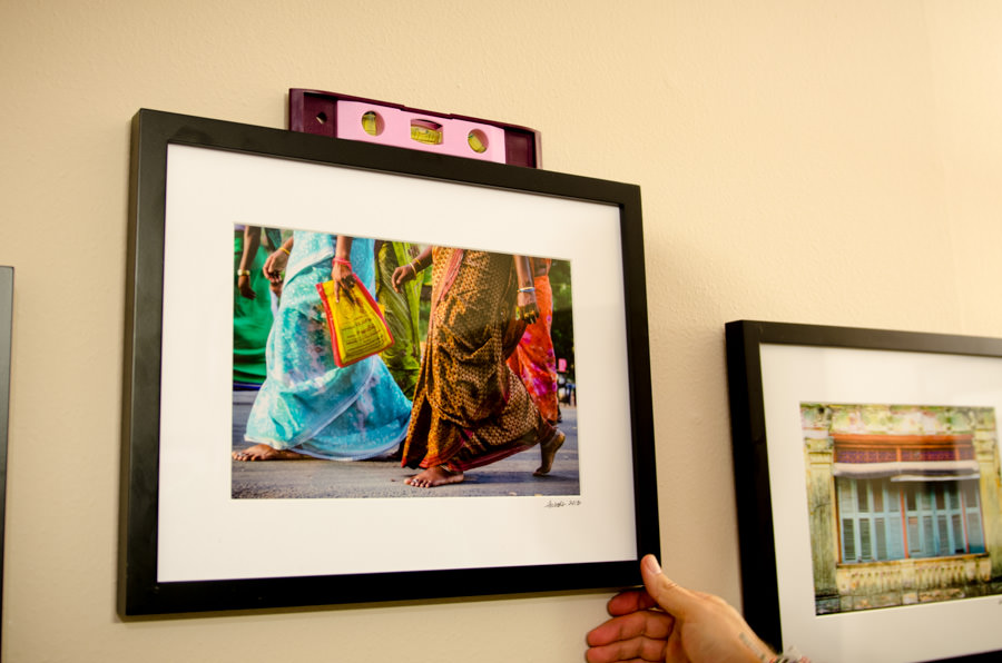 Hanging photos for our photography show