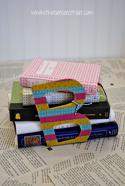 Washi tape covered bookends at www.thebensonstreet.com