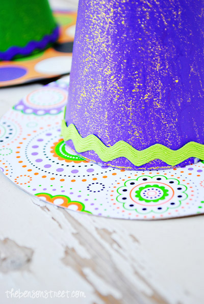 Colorful Painted Witch Hats at thebensonstreet.com