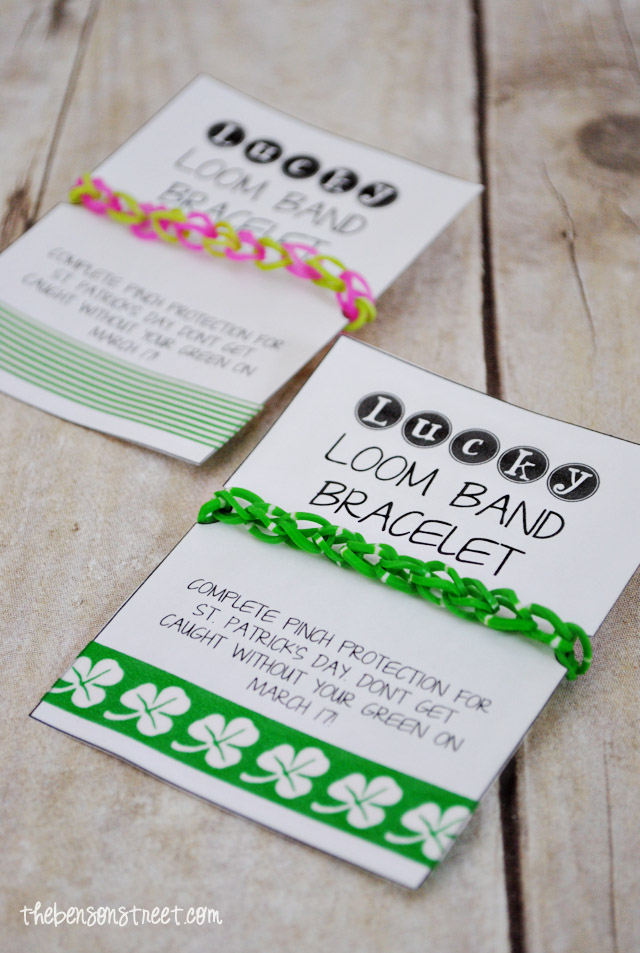 Lucky Loom Band Bracelet Printable at thebensonstreet.com