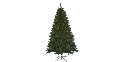 Home Accents Holiday - 6.5 ft. Pre-lit Jackson Spruce Artificial Christmas Tree with Clear Lights and Pinecones