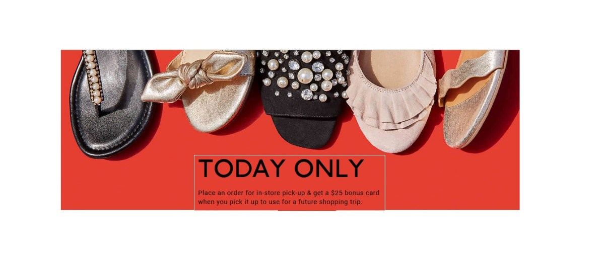 Buy Online & Get $25 Bonus Card When You Pickup In-Store at DSW