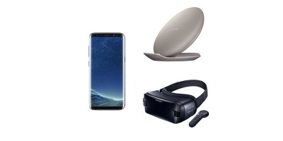 Samsung Galaxy S8 64GB Unlocked Phone – US Version (Midnight Black) – 2017 Gear VR With Controller – Fast Charge Wireless Charging Convertible Stand