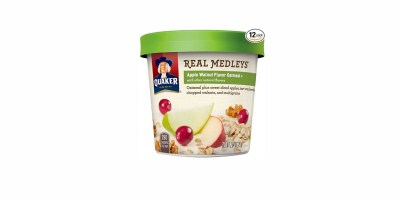 12 Pack  Quaker Real Medleys Oatmeal+ (Apple Walnut, Instant Oatmeal+ Breakfast Cereal)