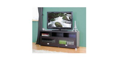 Swindon Modern Dark Brown TV Stand with Glass Doors for TVs up to 60