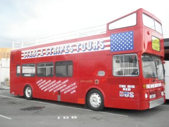 The Big Red Bus in State of Play starring Russell Crowe and Ben Affleck