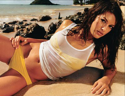 Malia Jones yellow bikini