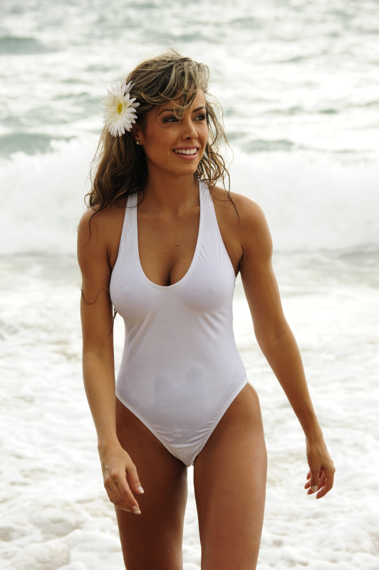 Sheer White One Piece Thong Swimsuit Swimsuit-1
