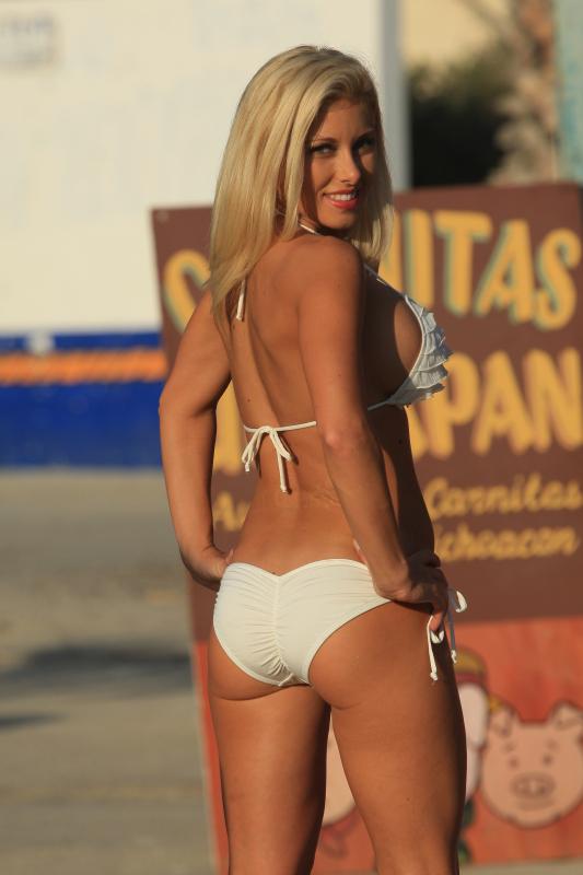 White Ruffled Bikini-01