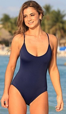 Bathing Suits for Women Over 40 navy blue swimming suit