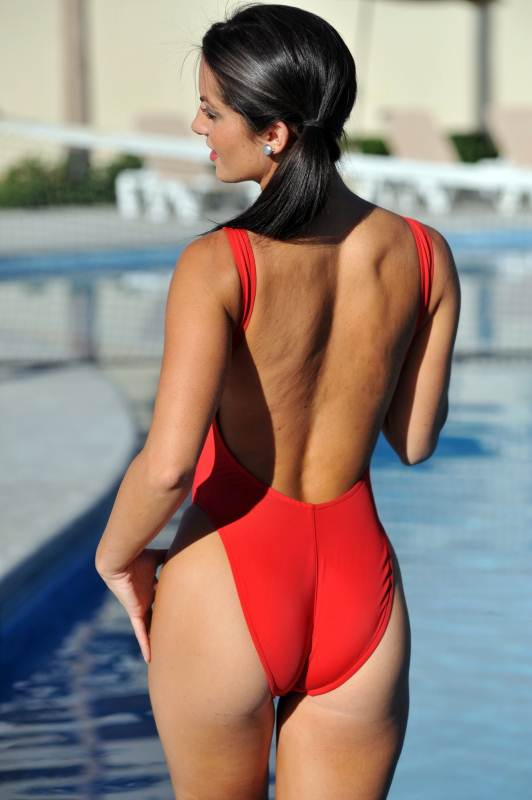 Bikinis For Women with Smaller Chests Sheer Red One Piece Rear View