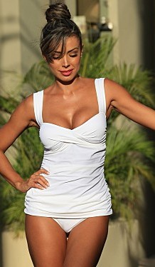 Bikinis for Women Over 40 Marilyn Full Length Tankini in White