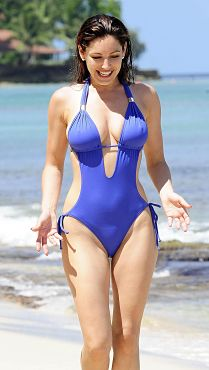 Kelly Brook Sexy Blue Cut Out One Piece Swimsuit