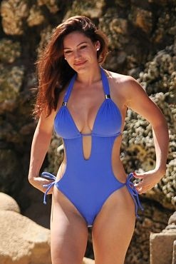 Kelly Brook Sexy Cut Out One Piece Swimsuit