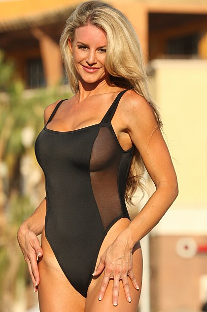 One Piece Swimsuit with Sheer Side Panels