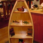 5 foot mahogany and ash flatback boat bookcase