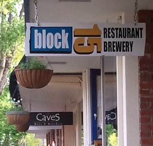 Block 15 & Les Caves sign, Corvallis
